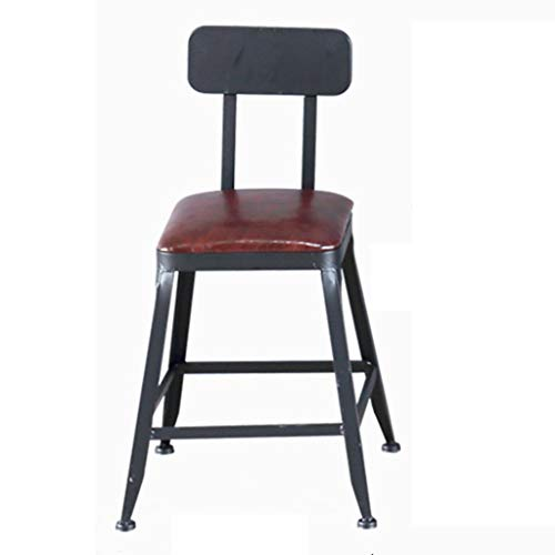 (Chair Bar Stool High Stool Nordic Wrought Iron Solid Wood Chair Chair Home Back Stool Brown Assembly American Retro Gift (Color : Black, Size : 4030105CM))