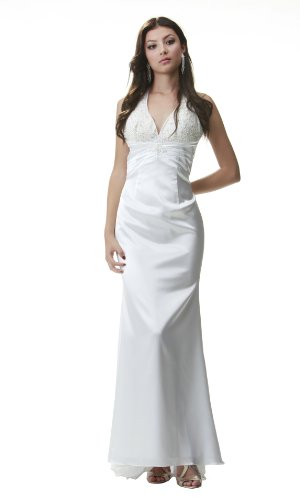 PolyUSA Women's Halter Top Charmeuse Beaded Long Prom & Evening Dress XL White