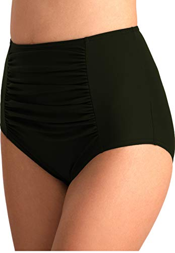 YOSUNL Women's Hig Waist Bikini Bottom Front Fold Deisgn Bikini Bottoms Swimsuit Swimware Panty Bottoms Olive Green S