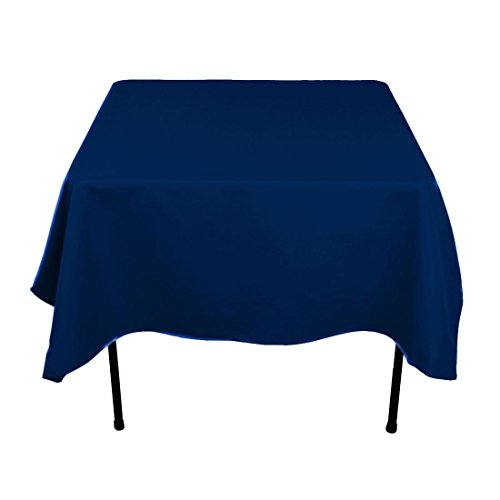 Gee Di Moda Square Tablecloth - 52 x 52 Inch - Navy Blue Square Table Cloth for Square or Round Tables in Washable Polyester - Great for Buffet Table, Parties, Holiday Dinner, Wedding & More