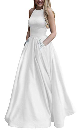 Women's Long Beaded Halter Satin Prom Dress A Line Open Back Evening Gowns with Pockets White US18W