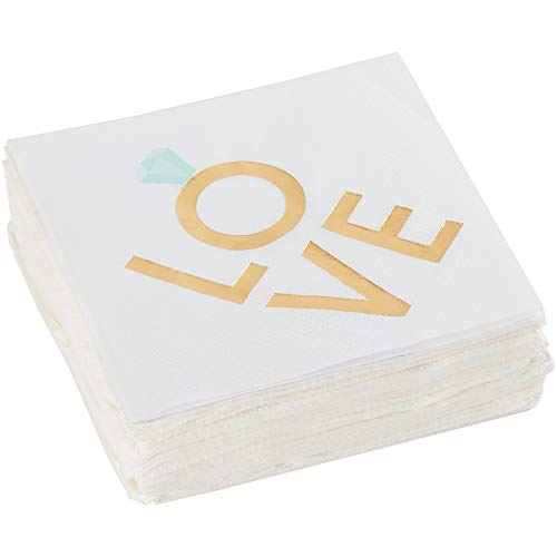 C.R. Gibson White and Gold 'Ring Love' Beverage and Cocktail  Napkins, 40pc, 5'' W x 5'' - Love Napkins Beverage