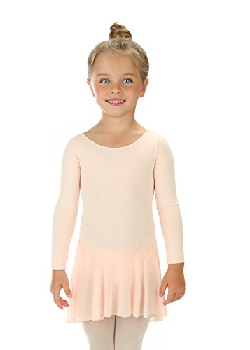 Elowel Girls' Ruffle Long Sleeve Skirted Leotard Nude