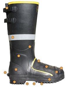 TINGLEY MB816B.11 16'' Steel Toe/Steel Midsole Metatarsal Boot, Size 11, Black
