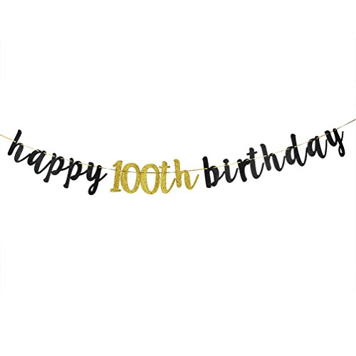 Happy 100th Birthday Banner, Black Glitter 100th Birthday Party Decoration -