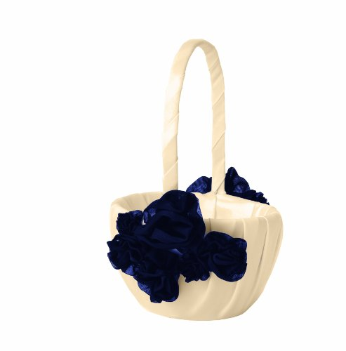 Ivy Lane Design Wedding Accessories Chelsea Collection Flower Girl Basket, Ivory and Navy Blue by Ivy Lane Design
