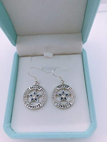 HASTTHOU NFL Team Dallas Cowboys Logo 925 Silver Plated Clear Crystal Diamond Polished Dangle Earrings for Fans (Dallas Cowboys) ()
