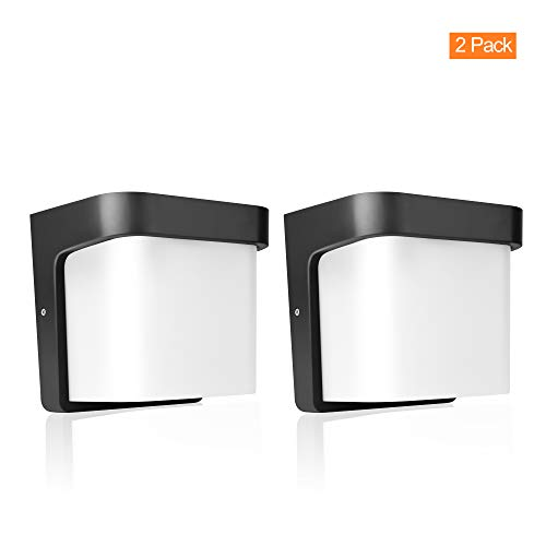 FUDESY 12W LED Wall Mounted Light Fixture, Black Polypropylene Plastic Porch Wall Lamp with Opal Acrylic Lens, Waterproof, 900LM, Modern Outdoor Flood Lights, Wall Sconce for Porch (2-Pack),PW1703