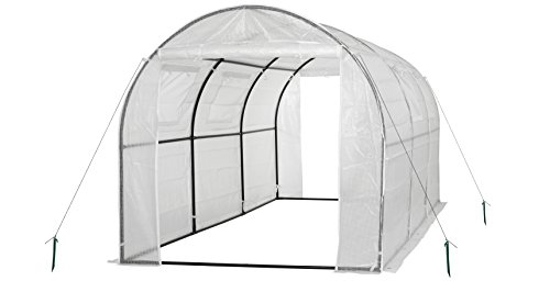 Ogrow 2 Door Walk-In Tunnel Greenhouse With Ventilation Windows & Steel Frame, 15′ x 6′ x 6′, White/Green