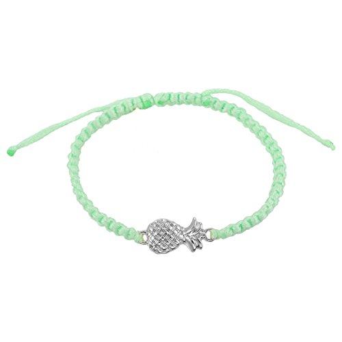 Handmade Adjustable Pineapple Charm Braided Thread Wrist Ankle Bracelets (Mint)