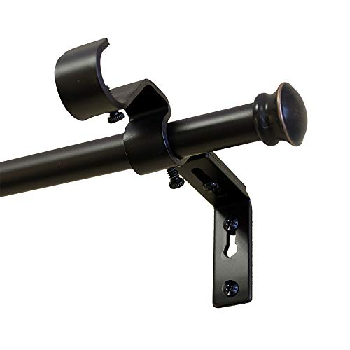 - Style Selections 28-in to 84-in Steel Double Curtain Rod Conversion Kit- Oil-Rubbed Bronze