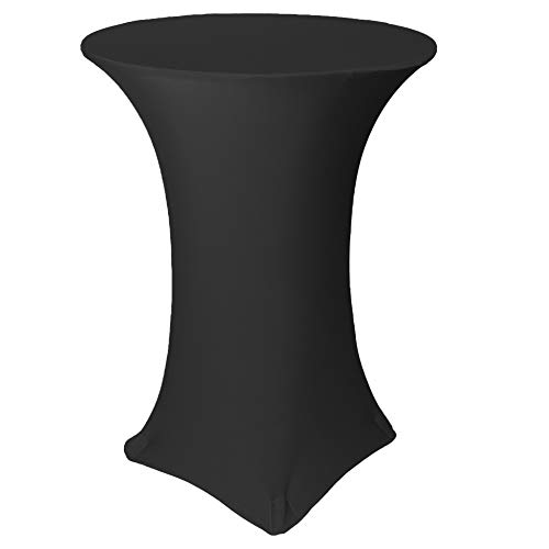 Your Chair Covers - 30 inch Highboy Cocktail Round Stretch Spandex Table Cover - Black, Tablecloth for Standard Bar and Bistro Tables
