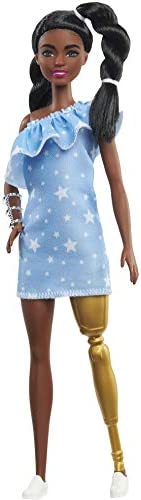 Barbie Fashionistas Doll with 2 Twisted Braids & Prosthetic Leg Wearing Star-Print Dress, White Shoes &