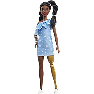 Barbie Fashionistas Doll with 2 Twisted Braids & Prosthetic Leg Wearing Star-Print Dress, White Shoes & Arm Bracelet, Toy for Kids 3 to 8 Years Old