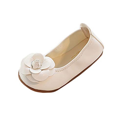 - FIged Dancing Shoes Baby Girls Solid Flower Ornament Leather Slip-On Mary Jane White