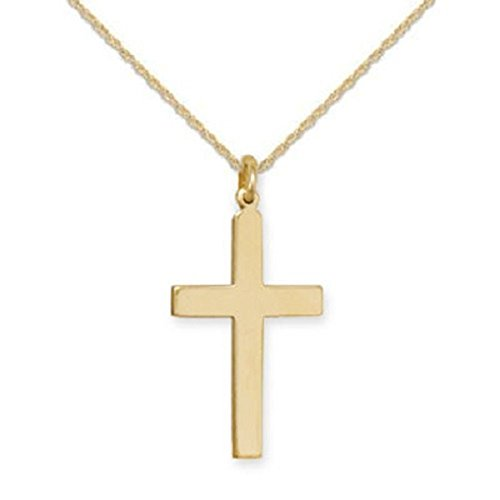 14k Gold-filled Plain Cross Polished Finish, Necklace - Made in the USA