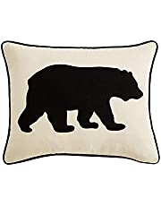 Eddie Bauer 216606 Black Bear Twill Decorative Pillow, 1 Count (Pack of 1)