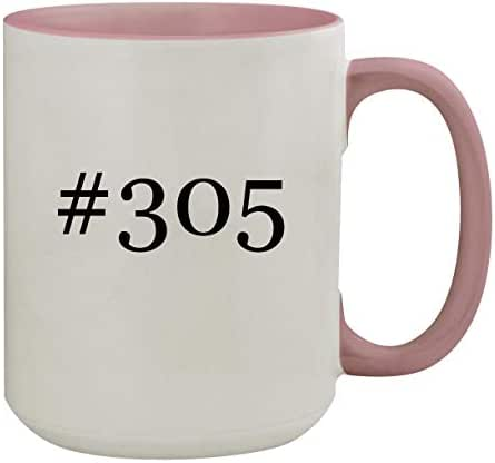 #305-15oz Hashtag Colored Inner & Handle Ceramic Coffee Mug, Pink