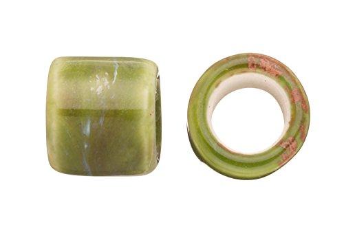 Tube Licorice Ceramic Bead Fits 10x8mm licorice Leather Nature Green Glazed Finished