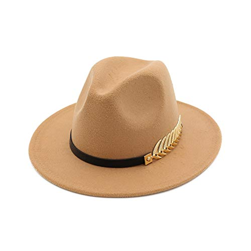 Vim Tree Women's Wide Brim Fedora Panama Hat with Metal Belt Buckle Camel-1]()