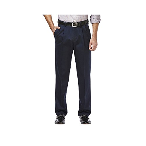 Haggar Premium No Iron Stretch Classic Fit Pleated Pants Dark Navy - Pants Dress Blend