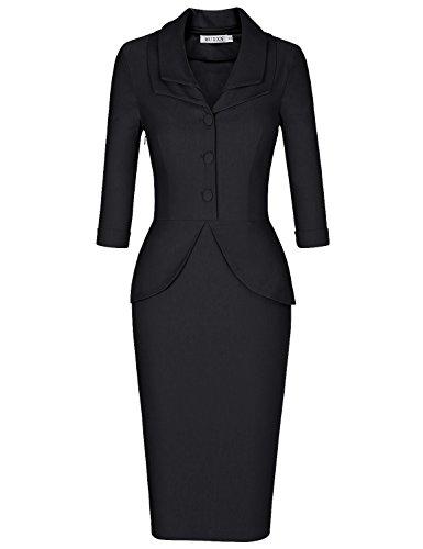 Sweetheart Buttons (MUXXN Ladies Pinup 1960s Sweetheart Neckline A Line Pencil Bridesmaid Dress (Black XL))