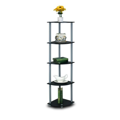 Furinno 99811BK/GY Turn-N-Tube 5 Tier Corner Shelf, Black/Grey (Low Storage Bathroom)