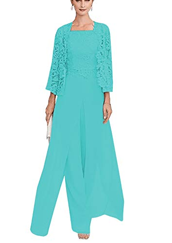 (Sexy Women's 3 Pieces Chiffon Mother of Bride Dress Pant Suits with Long Sleeves Appliques Lace Pleat Jacket for Weddinng(US20Plus,Tiffany Blue))