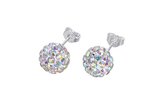 Rainbow Crystal Earrings (Surgical Stainless Steel Pave Crystal Disco Ball Shambala Studs Earrings Girls- Women Cubic Zirconia Hypoallergenic Earrings)