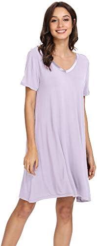 WiWi Womens Soft Bamboo Pajamas Short Sleeve Nightgowns V Neck Sleep Shirt Plus Size Sleepwear Loungewear S-4X