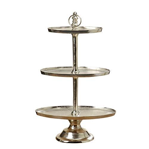 WHW Whole House Worlds Old World Slim Line Oval Cake Stand, 3 Tiers Etagere Trays, Polished Hand Cast Silver Aluminum, Craft Finish, Luxurious Style, Round Pedestal Base, Over 3 Feet Tall