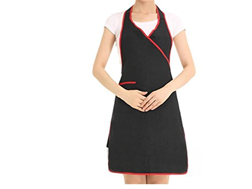 Working Pockets Neck for Dress Black Hanging Waitress Woman Apron Personalized Wesoce with 6qpw14H