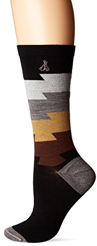 Blocks Acrylic Sock (Pendleton Women's Color Block Crew Socks, Medium(6-10), Black)