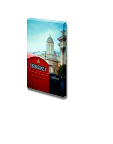 Gogobebe Canvas Wall Art Print Paintings - Red Telephone Box in Street with Historical Architecture in London.- 16
