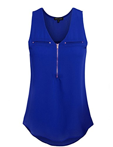 MISSISH Womens V-Neck Sleeveless Zip Front Double Chest Pocket Cami Tank Top Blouse SMALL ROYAL BLUE Sexy Double Zip