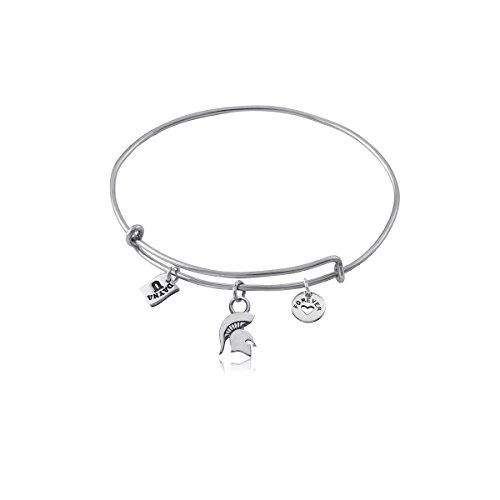 (Michigan State University Spartans MSU Sterling Silver Jewelry by Dayna Designs (Three Charm Adjustable Bracelet))