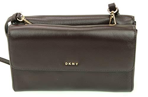 Karan DKNY Donna Bag Clutch Flap Leather Shoulder Double Dark Brown SS5wr1