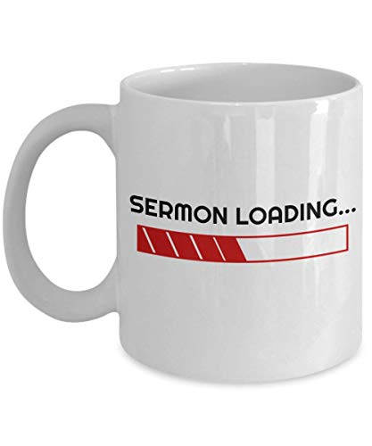 Sermon Loading Mug, 11 oz Ceramic White Coffee Mugs, Funny Pastor Presents, Pastor Appreciation Gifts, Worlds Best Minister Appreciation Coffee Tea Cups, Perfect Pastor Themed Tea Cups For Men, Women