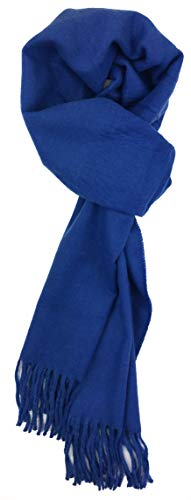 - Plum Feathers Rich Solid Colors Cashmere Feel Winter Scarf royal blue
