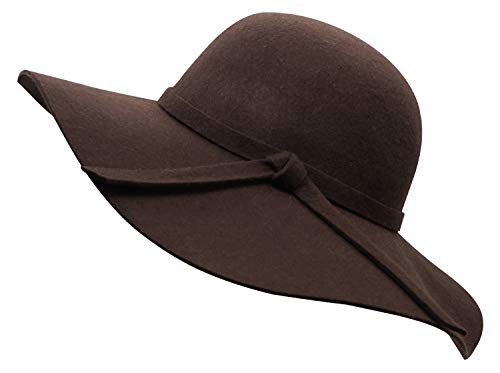 Womens Brown Wool - Bienvenu Women's Elegant Solid Color Woolen Floppy Hat Coffee