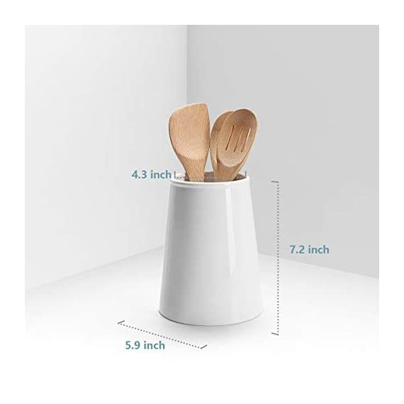 Sweese 3608 Porcelain Utensil Holder for Kitchen, White 3 LARGE SIZE - It is 7.2 inches tall, and 5.9 inches in diameter of bottom and 4.3 inches of the top. Large enough to keep most of your daily utensils in it. MULTI-PURPOSE - Used for most kitchen utensils such as spatulas, spoons. Make everything tidily and easy to reach. It can also do double duty as a flower VASE. HEAVY & STURDY - Made of hard-paste porcelain, lead-free ceramic. Chip resistant and heavy duty so it will not tip over when it is hit accidentally.
