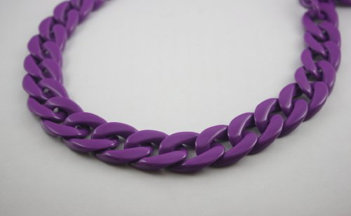 30 inch. Purple Chunky Chain Plastic Link Necklace Craft DIY Decorations Findings (Flat) (Big Size) ()