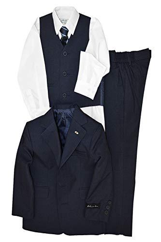 Johnnie Lene Dress Up Boys Designer Suit Set JL5016 (4T, Navy Blue)