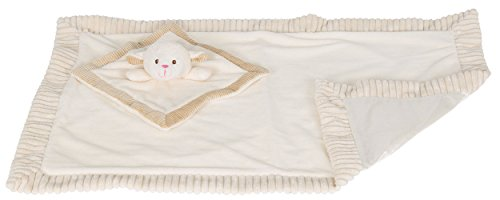 aby Blanket with Satin Lining and Matching Security Blanket Rattle Toy, Cream Lamb ()