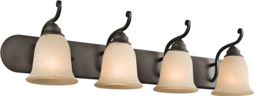 Kichler Lighting 45056OZ Monroe 4-Light Vanity Fixture, Olde Bronze Finish with Light Umber Etched Glass delicate