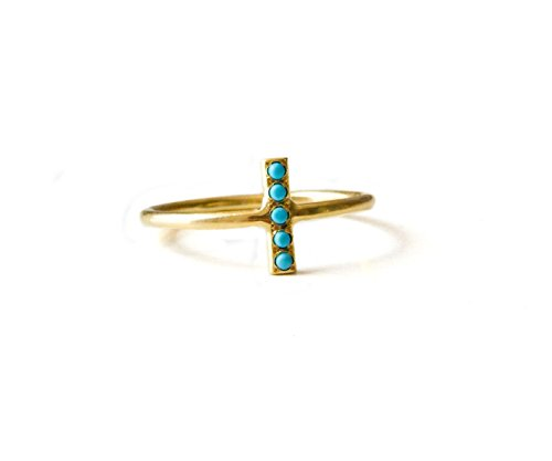 HOLIDAYS SALE- Thin Delicate Turquoise Pave Ring, Gold Filld or Sterling Silver with Gemstones, Available sizes US3 - US9, Ring by LOVE NAOMI design studio
