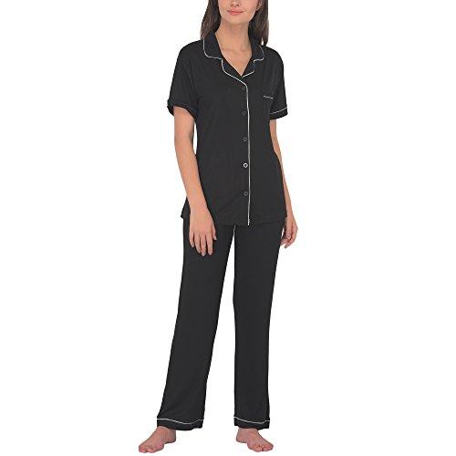 Women's Sleepwear 2 Pc Short Sleeve Pajama Notch Collar Pajama Pants Set/Pajama (Black, S)