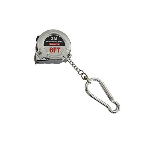 Orcbee  _Retractable Ruler Tape Measure Key Chain Mini Pocket Size Metric 2 Meters (Silver) ()