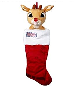 Rudolph the Red-Nosed Reindeer Plush Head with Blinking Nose Christmas Stocking
