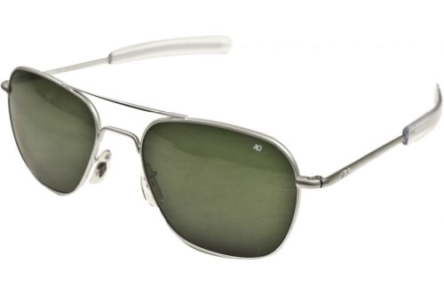 AO Eyewear Original Pilot Sunglasses 55mm Green Non-Polarized Optical Glass - Chrome Sunglasses Pilot